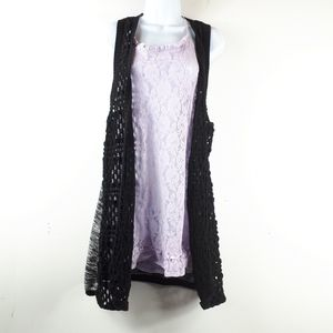 Black & Grey Open Front Sleeveless Cardigan